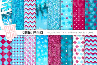 Frozen Digital Papers Graphic Backgrounds By Mutchi Design 1