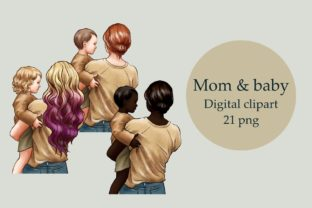 Mother's Day Clipart, Mom and Baby Graphic Illustrations By Arte de Catrin