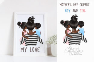 Mother's Day. Black Skin Mommy of Two. Graphic Illustrations By CosyArtStore by RivusDea