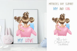 Mother's Day Clipart. Mom of Two Graphic Illustrations By CosyArtStore by RivusDea