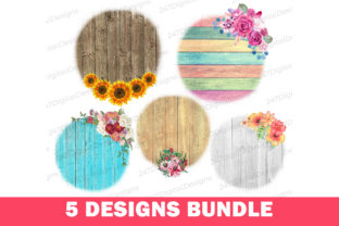 Wood Background Floral PNG Sublimation Graphic Backgrounds By 247DigitalDesigns