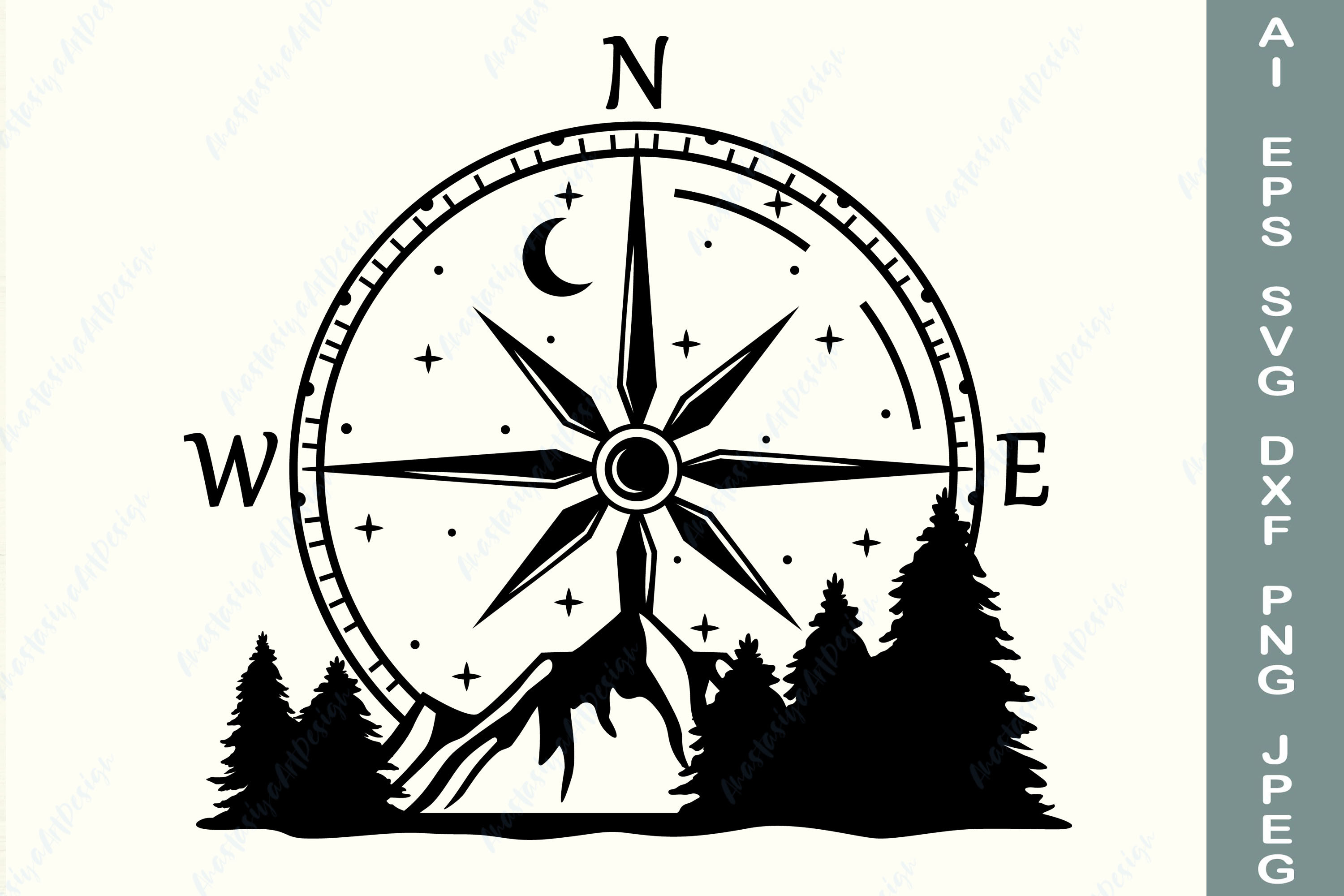 Compass with Mountain and Forest Svg SVG File