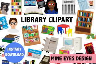 Print on Demand: Library Clipart Graphic Illustrations By Mine Eyes Design