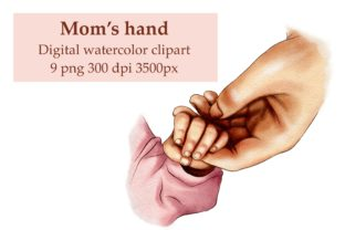 Mom's Hand Clipart, Baby Hand Graphic Illustrations By Arte de Catrin