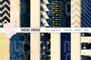 Navy Blue Digital Papers Graphic Backgrounds By Mutchi Design