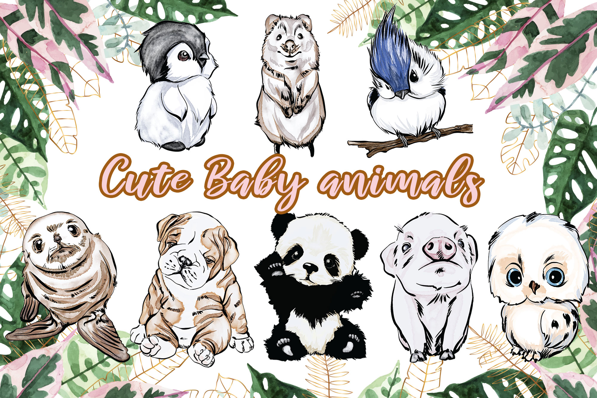 Baby Animals Clipart, Watercolor Animal SVG File