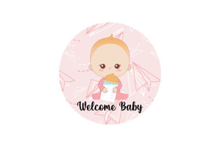 Baby with Pattern Background Graphic Illustrations By zia studio