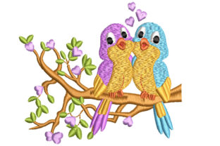 Birds on Tree Baby Animals Embroidery Design By Canada Crafts Studio