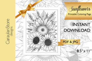 Floral Colouring Page with Sunflowers Graphic Coloring Pages & Books Adults By CaraulanStore