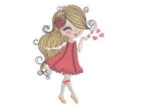 Girl Blowing Kisses Babies & Kids Embroidery Design By Canada Crafts Studio