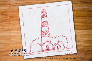 Landscape View of Assateague Island Vacation Embroidery Design By Redwork101
