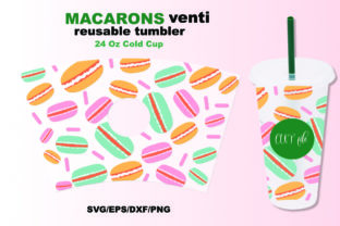 Macarons Wrap,for Venti 24 OZ Cold Cup. Graphic Crafts By CREATIVE O.K.N