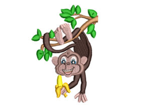 Monkey Hanging on a Tree Babies & Kids Embroidery Design By Canada Crafts Studio