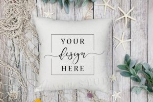 Summer Beach Themed Canvas Pillow Mockup Graphic Product Mockups By SlyDesignStudio