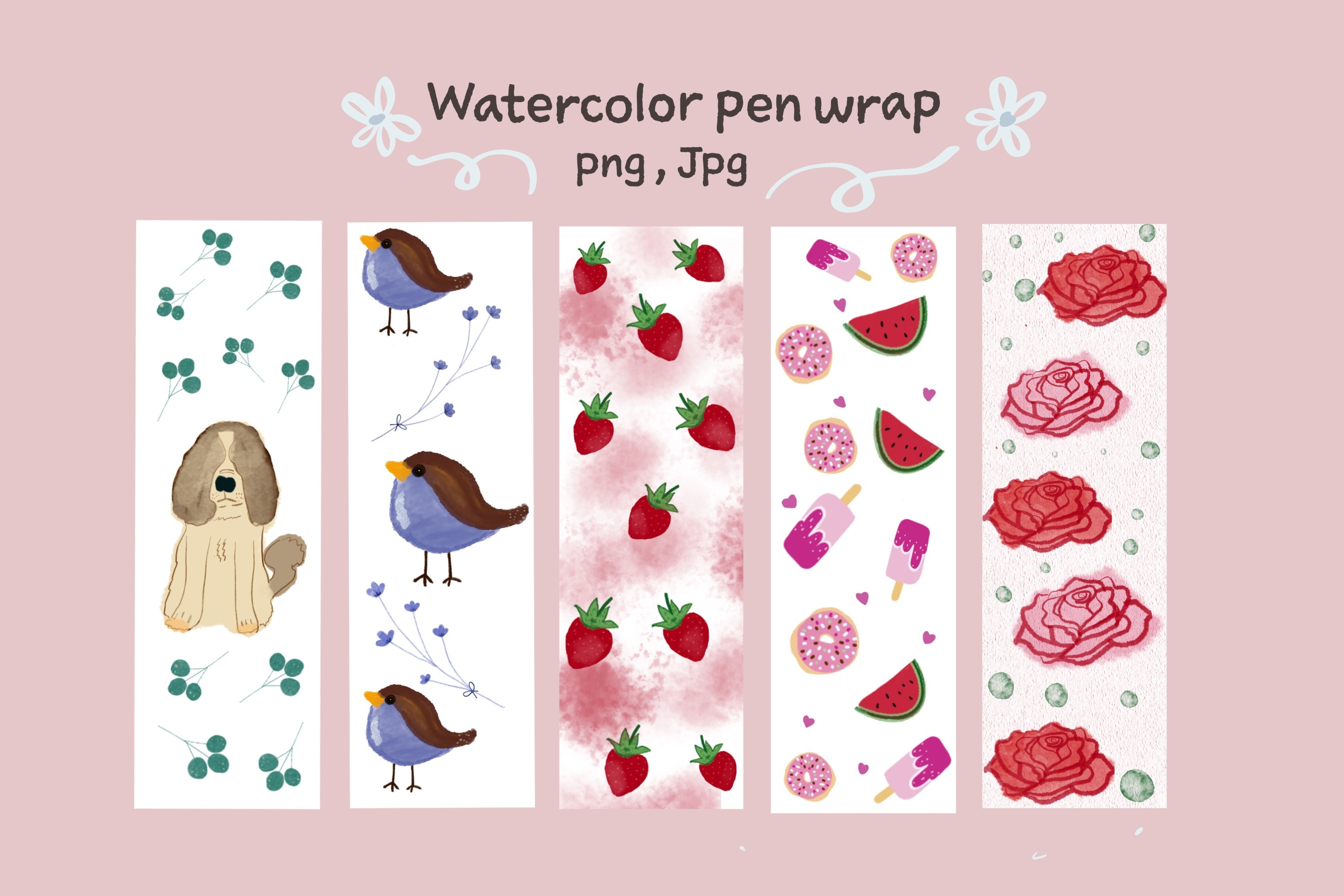 Sweet Watercolor Pen Wrappings SVG File