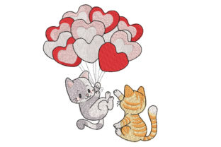 Two Kitties with Balloons Babies & Kids Embroidery Design By Canada Crafts Studio