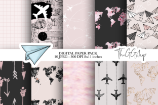 Print on Demand: Wanderlust Digital Paper Pack Graphic Print Templates By TheGGShop 1