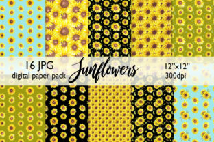 Watercolor Sunflower Digital Paper Graphic Backgrounds By CaraulanStore