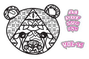 Print on Demand: Animal Face Coloring for Adult Svg Graphic Coloring Pages & Books Adults By NGISED