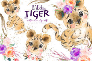 Baby Tiger Watercolor Clip Art Graphic Illustrations By Hippogifts 1