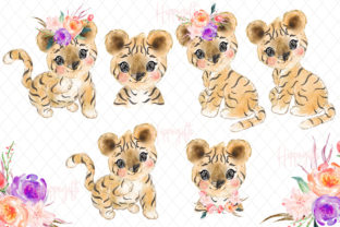 Baby Tiger Watercolor Clip Art Graphic Illustrations By Hippogifts 2