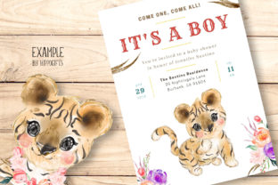 Baby Tiger Watercolor Clip Art Graphic Illustrations By Hippogifts 4