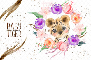 Baby Tiger Watercolor Clip Art Graphic Illustrations By Hippogifts 5