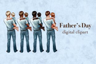 Father and Child Clipart, Father's Day Graphic Illustrations By Arte de Catrin