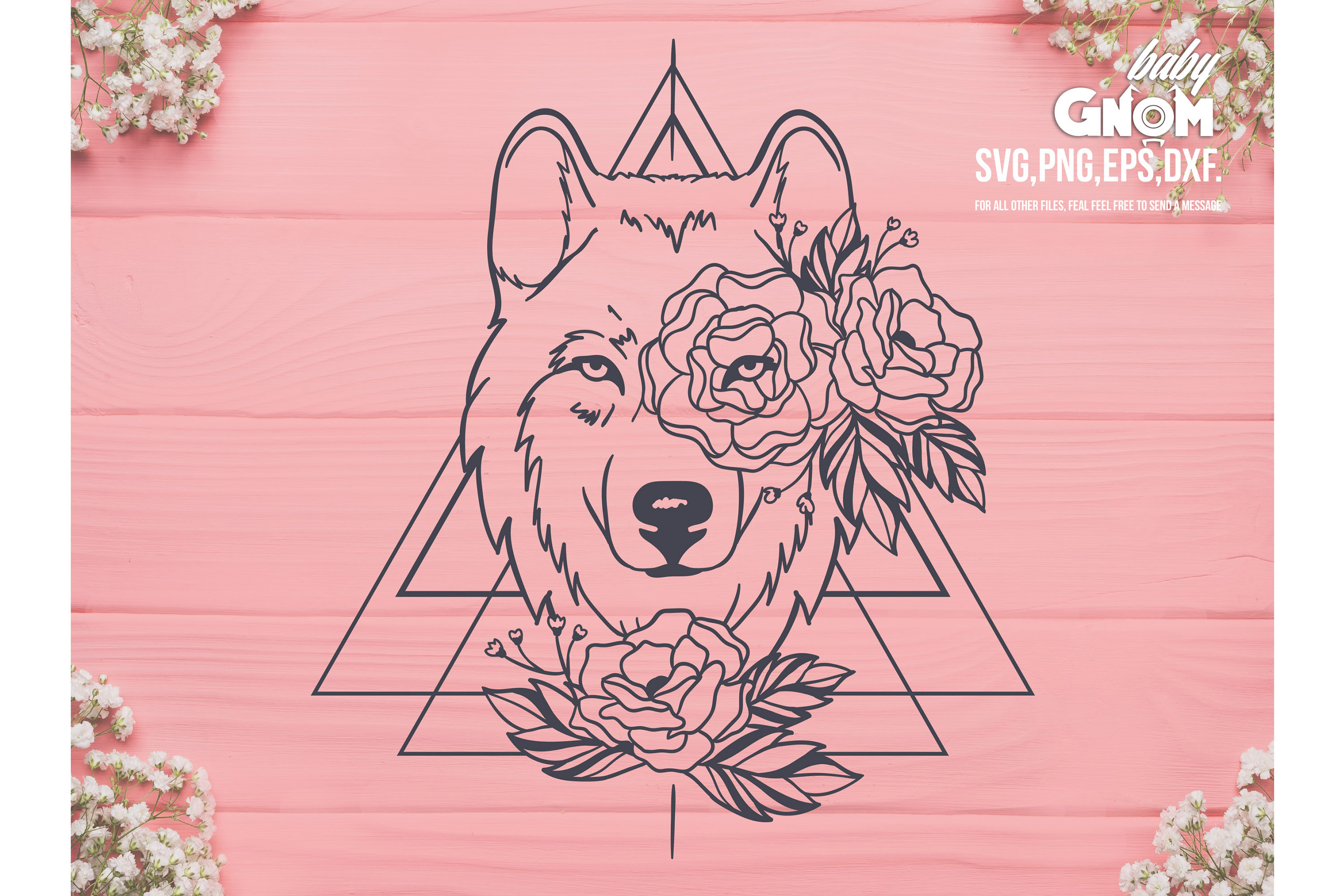Floral Wolf SVG, Wolf with Flower Crown SVG File