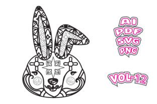 Print on Demand: Rabbits Animal Face Coloring Adult Svg Graphic Coloring Pages & Books Adults By NGISED
