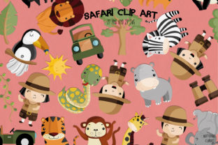 Print on Demand: Safari Clipart   Set of 27 Graphic Coloring Pages & Books Adults By NotturnoClipArt 1