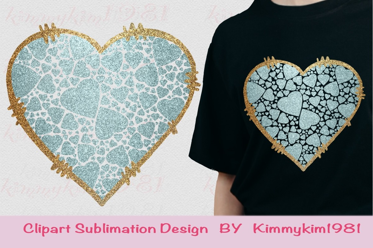 Sublimation Colorful Glitter Heart PNG SVG File