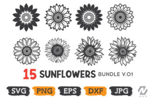 Print on Demand: Sunflowers Graphic Bundle Graphic Crafts By nesdigiart
