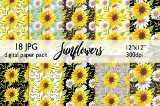 Watercolor Sunflower Digital Paper JPG Graphic Backgrounds By CaraulanStore