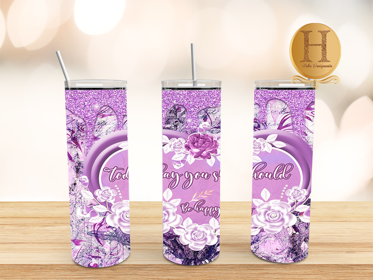 Lavender Flowers with Glitter Tumbler SVG File