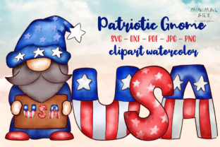 Print on Demand: Patriotic Gnomes Clipart Png 4th July Graphic Illustrations By Momixzaa 1