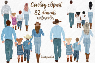 Print on Demand: Cowboy Family Clipart Western Clipart Graphic Illustrations By LeCoqDesign