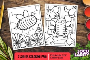 Cute and Kawaii Bee Coloring Page Graphic Coloring Pages & Books Kids By JocularityArt 1