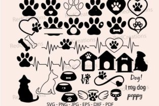 Dog Bone and Paw Print Bundle Svg, Paw Graphic Crafts By RedCreations