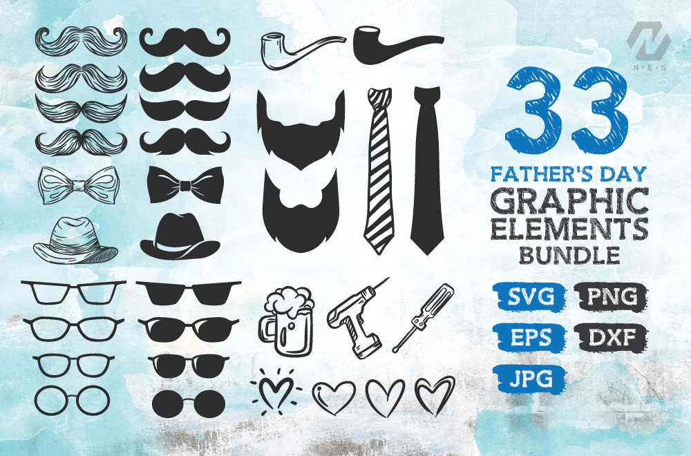 Fathers Day Graphic Elements Bundle SVG File