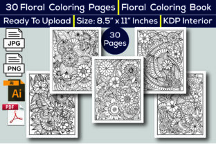 Print on Demand: Floral Coloring Book KDP Interior Graphic Coloring Pages & Books Adults By KDP Interior 24