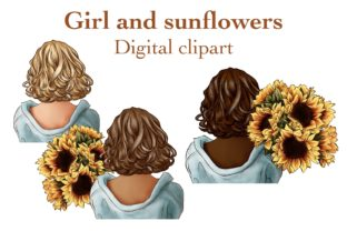 Girl and Sunflowers Clipart Graphic Illustrations By Arte de Catrin