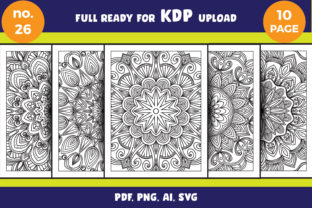 Print on Demand: Mandala Coloring Page Svg Bundle Adult Graphic Coloring Pages & Books Adults By NGISED