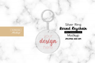 Round Acrylic Keychain with Silver Graphic Product Mockups By TheWhiteCrate