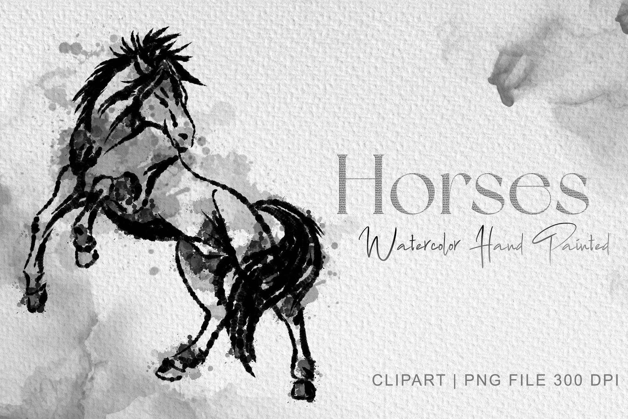 Standing Horse Clipart, Watercolor Horse SVG File