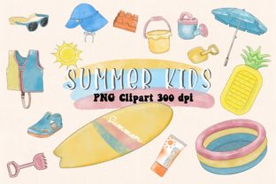 Print on Demand: Summer Kids Watercolor PNG File Graphic Illustrations By AchitaStudio