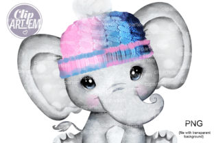 Print on Demand: Unisex Pink Blue Elephant Baby Clip Art Graphic Illustrations By clipArtem 1