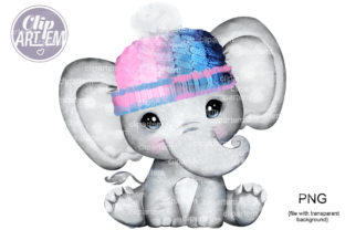 Print on Demand: Unisex Pink Blue Elephant Baby Clip Art Graphic Illustrations By clipArtem 2