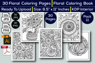 Print on Demand: Floral Coloring Book KDP Interior Graphic Coloring Pages & Books Adults By KDP Interior 24 2