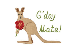 Print on Demand: Kangaroo with a Flower, G'day Mate! Animal Quotes Embroidery Design By EmbArt